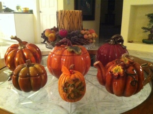 Collection of ceramic pumpkins for Thanksgiving