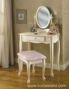 Vanity, Bench, and Mirror