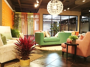 The Jonathan Louis showroom is a blast of color!