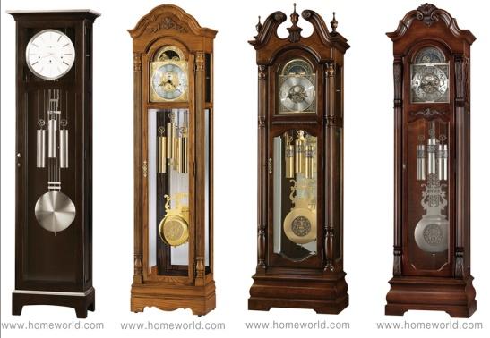 Floor Clocks by Howard Miller L-R: Urban Floor II; Gavin (coming soon); Edinburg; Neilson