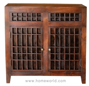 "Mother Nature Golu Printing Press Sideboard is a showstopper in the dining room. 40""x13""x40""h."