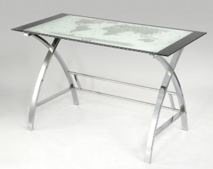 Contemporary glass-top World Map Desk