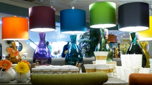 Create a rainbow or a splash of color with stunning table lamps. $179.95 each