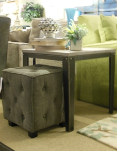 Cubed ottoman is designed to store under the end table. ust pull it out when you need additional seating.