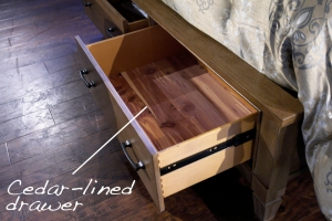 cedar lined drawer detail