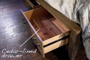 cedar lined drawer detail