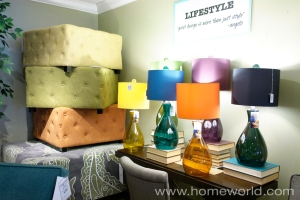 Fun lamps and ottomans are easy ways to infuse color to every room