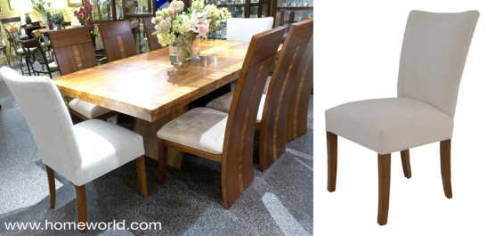 Julia chair shown at the head of table with the very contemporary Milan dining set.