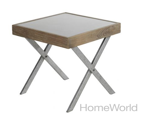 The Mokka zinc lamp table is made from reclaimed elm wood and has an ages zinc top. Price: $289. Dimensions: L24 x W24 x H23.