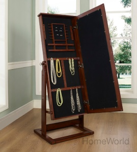 Hampton Chevel Jewelry Armoire by Powell. Shown open at homeworld.com