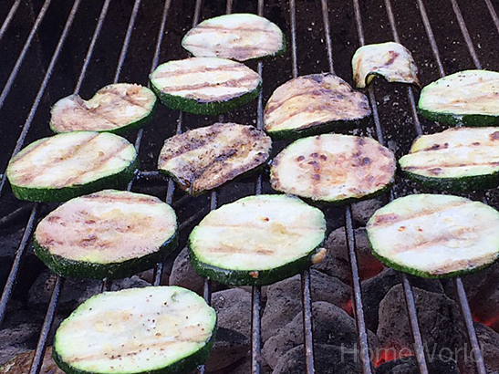 Now that the grill is clean, let's cook zucchini!