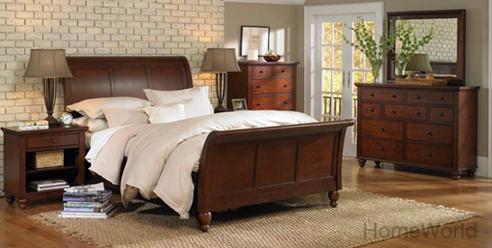 The Cambridge bedroom is has the classic sleigh headboard for a timeless look. But the collection also has modern conveniences like a built-in charging station in the nightstands and a a pull-out top for laptop.