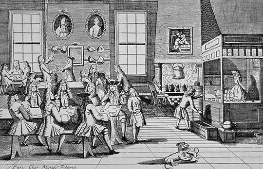 1650-Interior-of-a-Coffee-House-c1705