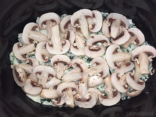 Layer sliced mushrooms.