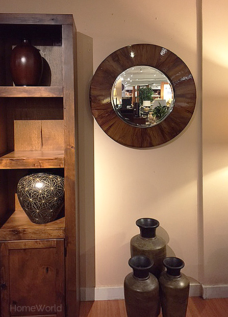 Round wood frame mirror at HomeWorld