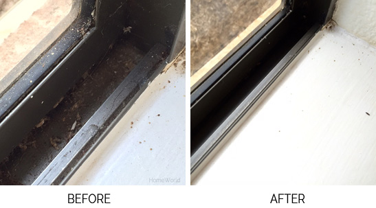dirty window and clean window before and after window tracks household cleaning