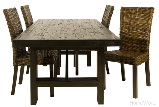 Jofran Kona Grove Dining Table and Urban Lodge rattan chair