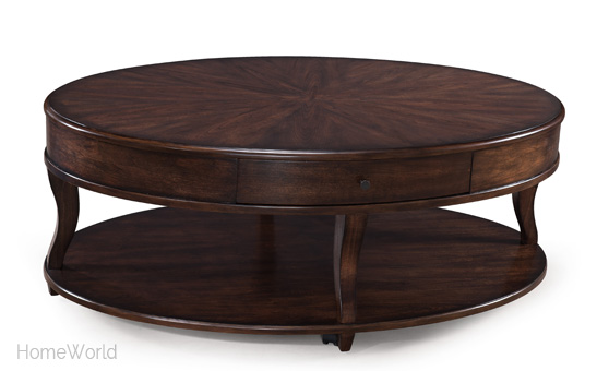 The Madelyn collection includes the oval coffee table, oval end table, and sofa table.