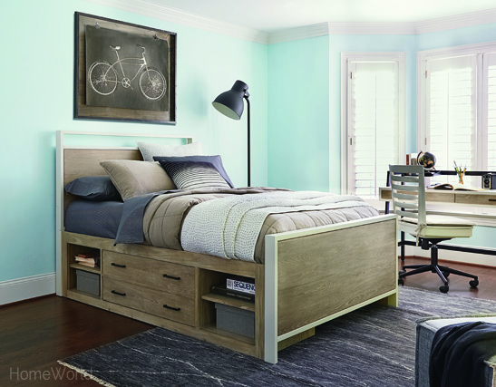 #myRoom full size panel bed has generous base storage for easy organization.