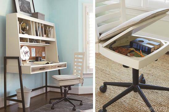Even the desk chair is designed with clever storage.