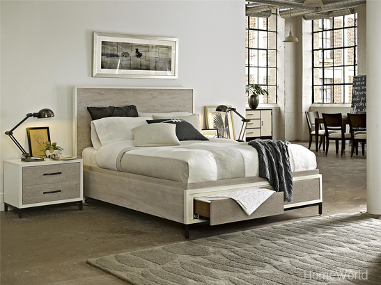 Spencer queen size bed has hidden storage in the footboard for a clean look.