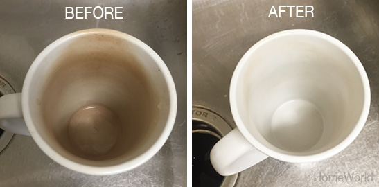 Before and after of coffee mug